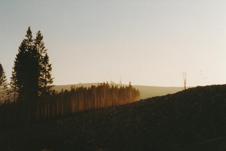Der Brocken im goldenen Licht der untergehenden Sonne