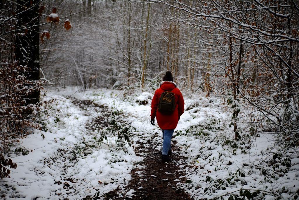 Eine Frau die durch einen verschneiten Wald geht