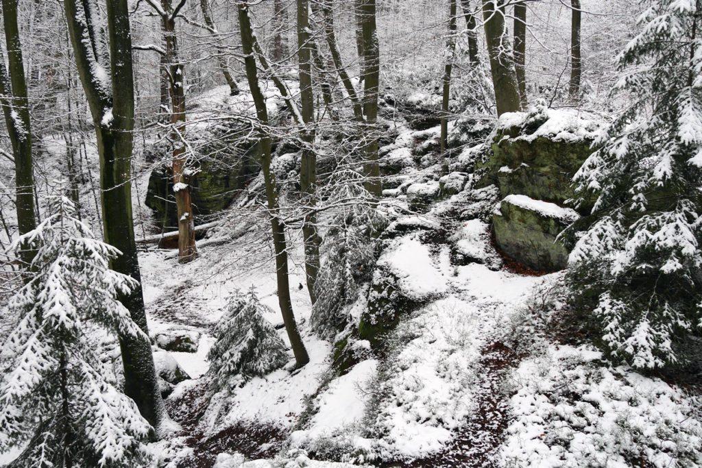 Mit Schnee überzogene Bodensteinerklippen